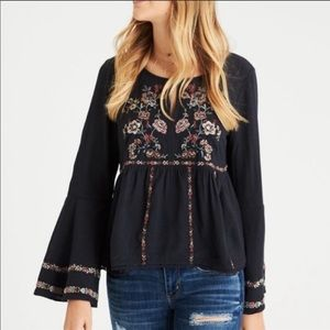 American Eagle Bell Sleeve Boho Embroidered Blouse